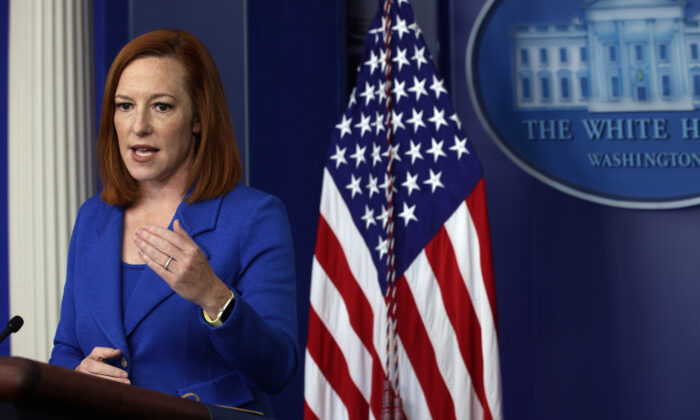 White House press secretary Jen Psaki speaks during a daily press briefing at the White House in Washington on April 19, 2021. (Alex Wong/Getty Images)