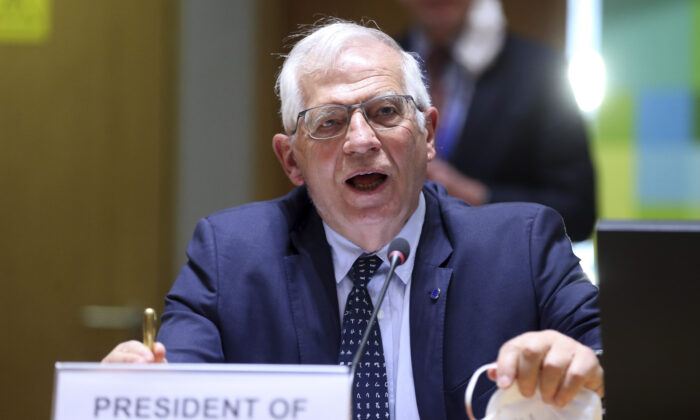 European Union foreign policy chief Josep Borrell speaks as he attends a meeting of EU foreign ministers to discuss the situation in Ukraine, at the European Council building in Brussels, on April 19, 2021. (Francois Walschaerts, Pool via AP)