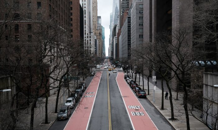A street stands empty in New York City on March 1, 2021. (Spencer Platt/Getty Images)