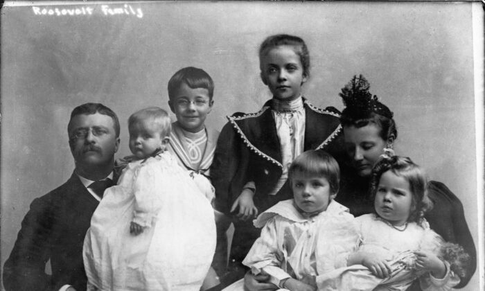 A portrait of President Theodore Roosevelt (1858–1919) with his second wife, Edith Carow Roosevelt and his first five children, mid-1890s. (FPG/Getty Images)