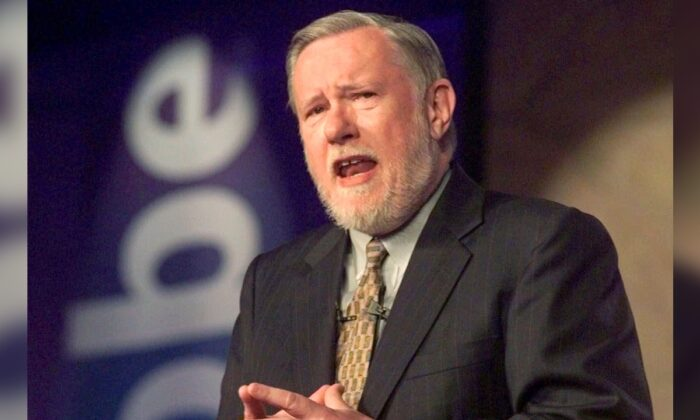 Dr. Charles M. Geschke, president, co-chairman and co-founder of Adobe Systems Inc., delivers his keynote address about the future of workplace information on the final day of PC Expo at the Jacob K. Javits, Convention Center in New York City, on June 24, 1999. (Richard Drew/AP Photo)