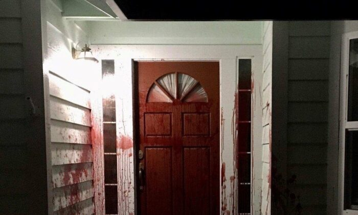Blood is seen splattered on the front door of the former residence of retired police officer Barry Brodd in Santa Rosa, Calif., on April 17, 2021. (Santa Rosa Police Department)
