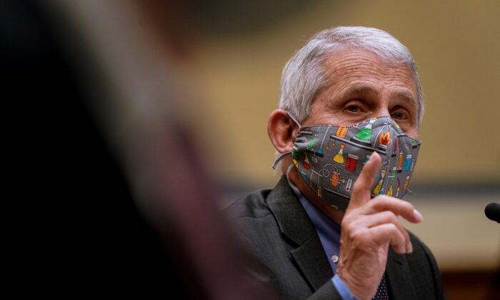 National Institute of Allergy and Infectious Diseases Director Anthony Fauci testifies to a House panel in Washington on April 15, 2021. (Amr Alfiky/Pool/AFP via Getty Images)