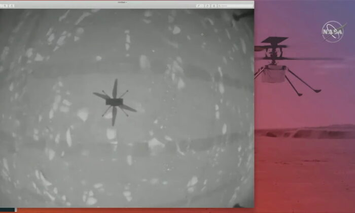 The shadow of NASA's Mars helicopter Ingenuity is seen during its first flight on the planet in this still image taken from a video on April 19, 2021. (NASA/JPL-Caltech/ASU/Handout via Reuters)