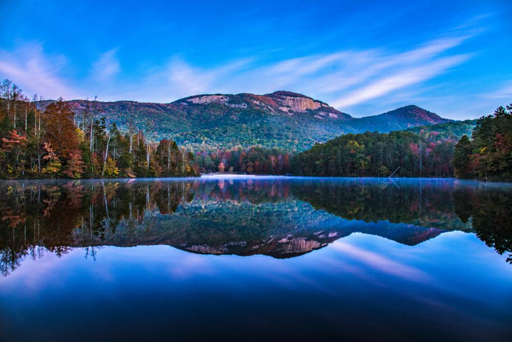 Table,Rock,State,Park,And,Pinnacle,Lake,At,Sunrise,Near