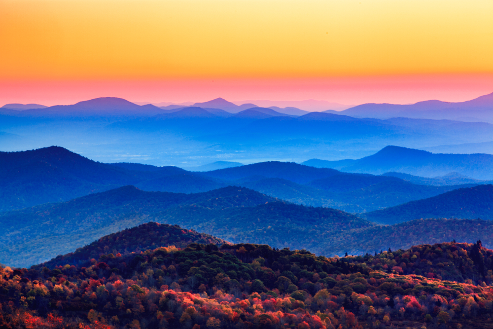Sunset,Over,The,Blue,Ridge,Appalachian,Mountains,In,North,Carolina.