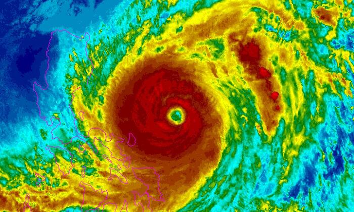 A satellite image of the typhoon Surigae near the Philippines on April 19, 2021. (NOAA/Handout via Reuters)