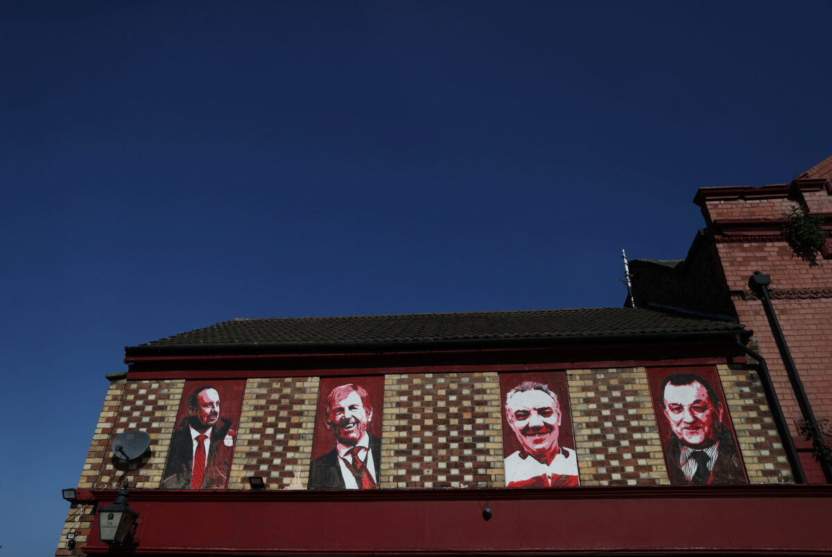 Images of Rafael Benitez, Kenny Dalglish, Joe Fagan and Bob Paisley are seen outside Anfield as twelve of Europe's top football clubs launch a breakaway Super League