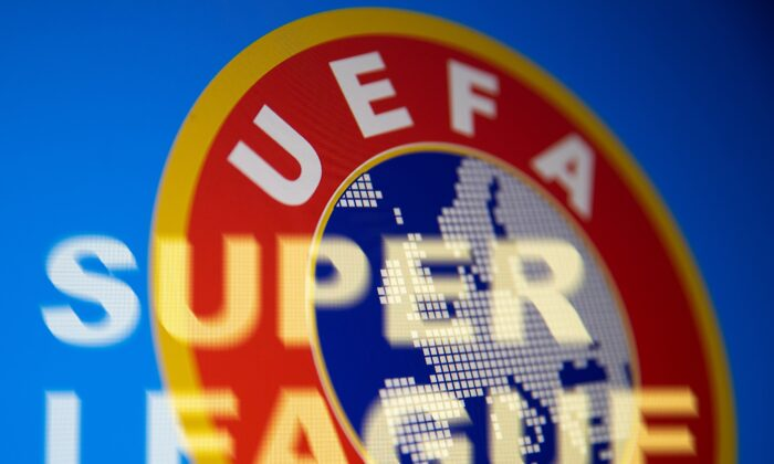 Super League words are seen in front of UEFA logo in this illustration taken April 19, 2021. (Dado Ruvic/Illustration/Reuters)