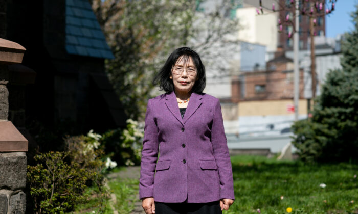 Falun Gong practitioner Zhang Yijie in Flushing, N.Y., on April 18, 2021. (Chung I Ho/The Epoch Times)