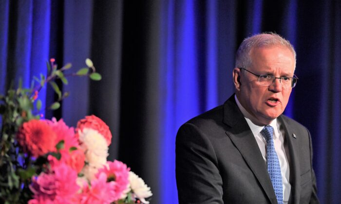 Prime Minister Scott Morrison addresses the Business Council of Australia (BCA) dinner at the Fullerton Hotel, in Sydney, Monday, April 19, 2021. (AAP Image/Joel Carrett)