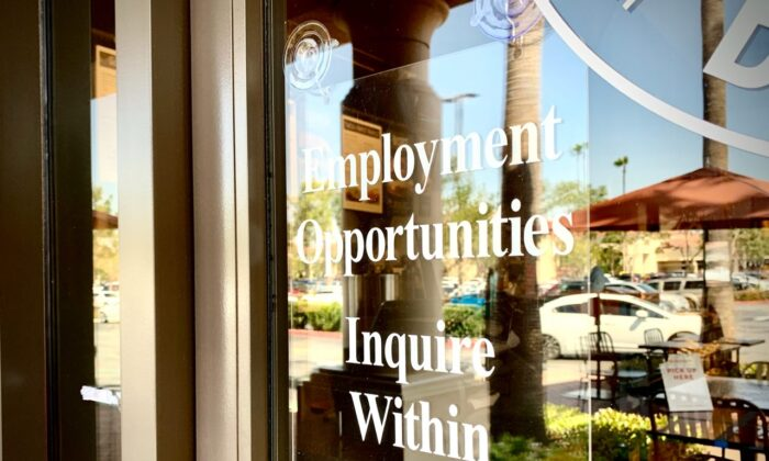 Employment opportunities are advertised at an Irvine, Calif. bagel shop on March 23, 2021. (John Fredricks/The Epoch Times)