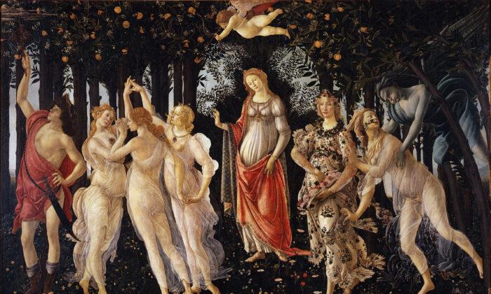La Primavera by Sandro Botticelli c.1482. Tempera on Panel, Uffizi Gallery (public domain)