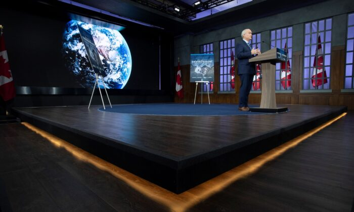Conservative Party Leader Erin O'Toole announces his party's climate change policy during an event in Ottawa on April 15, 2021. (The Canadian Press/Adrian Wyld)
