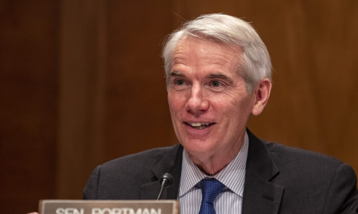 Sen. Rob Portman (R-Ohio) speaks at a hearing to examine the 2020 Census and current activities of the Census Bureau at the U.S. Capitol in Washington on March 23, 2021. (Tasos Katopodis/Getty Images)