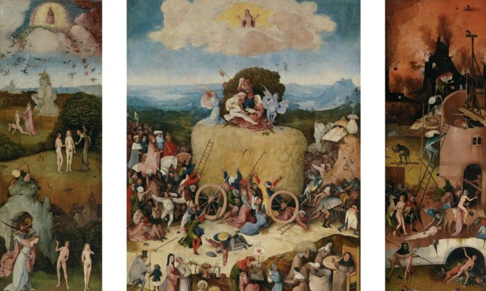 """The Haywain Triptych,"" circa 1515 by Hieronymous Bosch or workshop. Oil on Panel. Prado Museum, Madrid, Spain. (Public Domain)"
