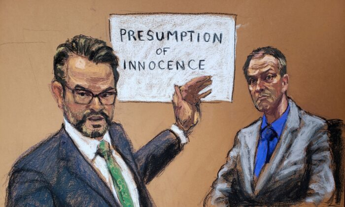 In this courtroom sketch, former Minneapolis police officer Derek Chauvin listens as defense attorney Eric Nelson makes closing arguments during Chauvin's trial for second-degree murder, third-degree murder and second-degree manslaughter in the death of George Floyd in Minneapolis, Minn., on April 19, 2021. (Jane Rosenberg/Reuters)