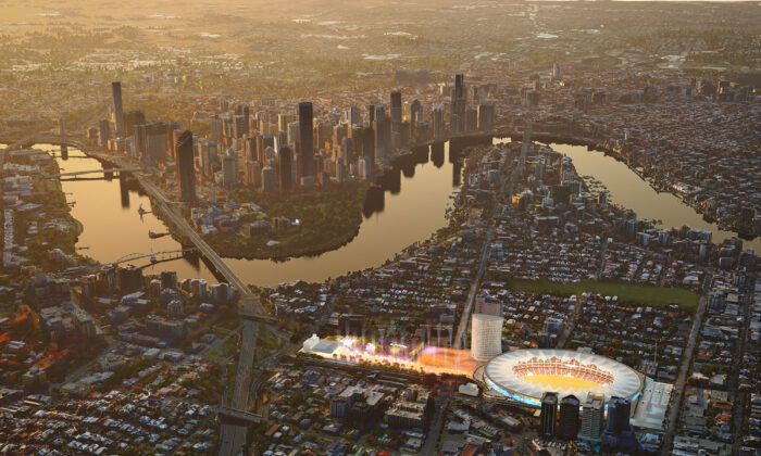 Proposed upgrade for Gabba stadium and pedestrian plaza. (Queensland Government)