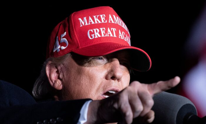 U.S. President Donald Trump speaks during a Make America Great Again rally at Richard B. Russell Airport in Rome, Ga., on Nov. 1, 2020. (Brendan Smialowski/AFP via Getty Images)
