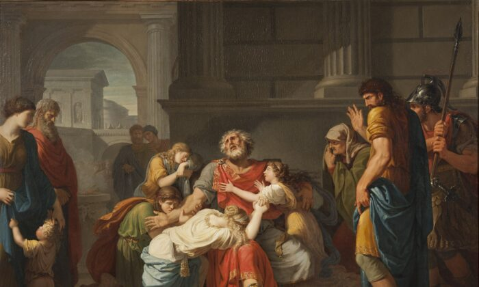 """Oedipus chooses his fate of blindness. """"Blind Oedipus Commending his Children to the Gods,"""" 1784, by Bénigne Gagneraux. National Museum, Stockholm. (Public Domain)"""