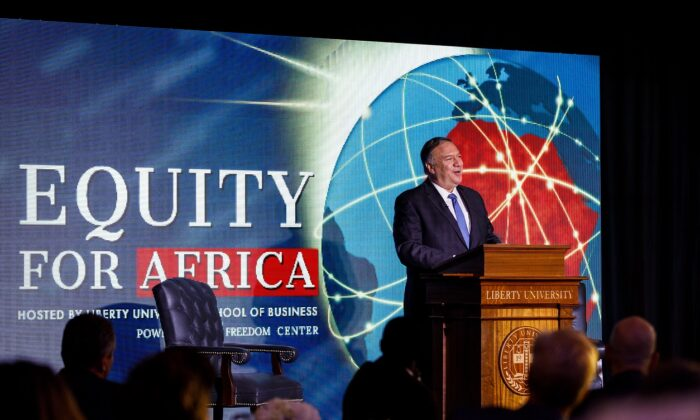 Former Secretary of State Mike Pompeo speaks at the Equity for Africa Summit in the Montview Ballroom at Liberty University in Lynchburg, Va., on April 13, 2021. (Chase Gyles)