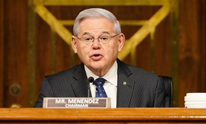 Chairman Sen. Robert Menendez (D-NJ) speaks at a hearing of the Senate Foreign Relations Committee on March 23, 2021 on Capitol Hill in Washington. (Greg Nash-Pool/Getty Images)