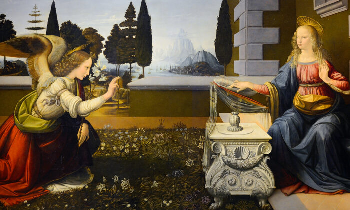 """Detail from """"The Annunciation"""" c. 1472-1475 by Leonardo da Vinci. Oil and tempera on panel. The Uffizi Gallery, Florence"""