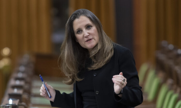 Deputy Prime Minister and Minister of Finance Chrystia Freeland responds to a question during question period in the House of Commons in Ottawa on April 20, 2021. (The Canadian Press/Adrian Wyld)
