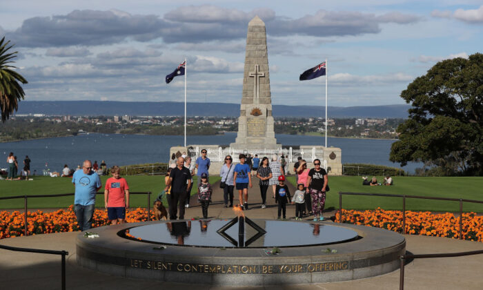 People visit the State War Memorial at Kings Park to pay their respects on ANZAC Day, Apr. 25, 2020 in Perth, Australia. (Photo by Paul Kane/Getty Images)