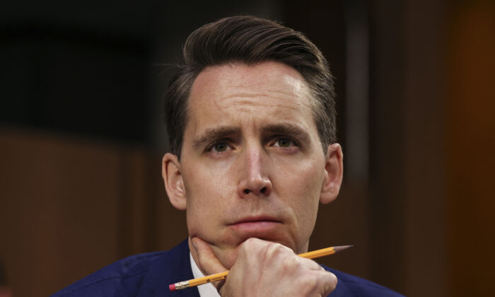 Senator Josh Hawley (R-Mo.) looks on during a Senate Judiciary Committee hearing on voting rights on Capitol Hill in Washington on April 20, 2021. (Evelyn Kockstein/Pool/AFP via Getty Images)