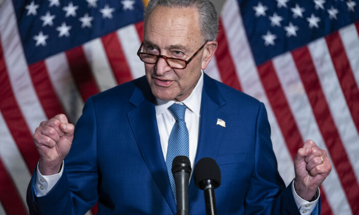 Senate Majority Leader Chuck Schumer (D-NY) speaks during a news conference following the weekly Democrat policy luncheon on Capitol Hill on April 20, 2021 in Washington. (Sarah Silbiger/Getty Images)