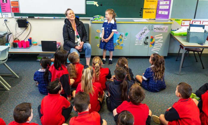Grade one students enjoy returning to the classroom at Lysterfield Primary School on Oct. 12, 2020, in Melbourne, Australia. (Daniel Pockett/Getty Images)