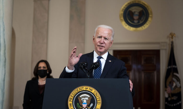 President Joe Biden  with Vice President Kamala Harris looking on makes remarks about the Derek Chauvin Trial, at the White House, Tuesday April, 20, 2021. (Doug Mills/Pool/Getty Images)