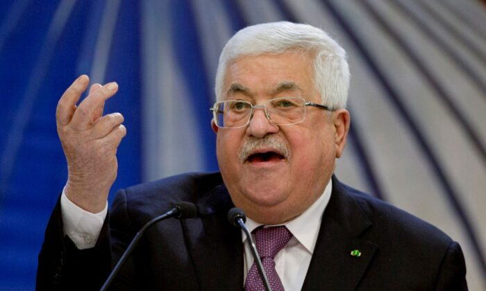Palestinian President Mahmoud Abbas speaks after a meeting of the Palestinian leadership in the West Bank city of Ramallah on Jan. 22, 2020. (Majdi Mohammed/AP Photo)