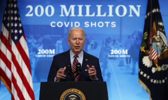President Joe Biden delivers remarks on the COVID-19 response and the state of vaccinations at the South Court Auditorium of Eisenhower Executive Office Building in Washington on April 21, 2021. (Alex Wong/Getty Images)