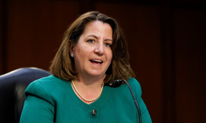 Nominee to be Deputy Attorney General Lisa Monaco testifies before the Senate Judiciary Committee during her confirmation hearing on Capitol Hill in Washington on March 9, 2021. (Joshua Roberts/Reuters)