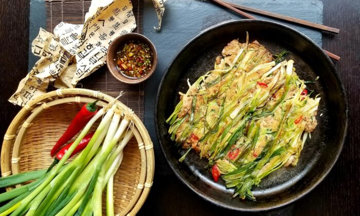 Pork complements the scallions perfectly in this pajeon, but feel free to use any other protein of your choice, or none to make it vegetarian. (Courtesy of Judy Joo)