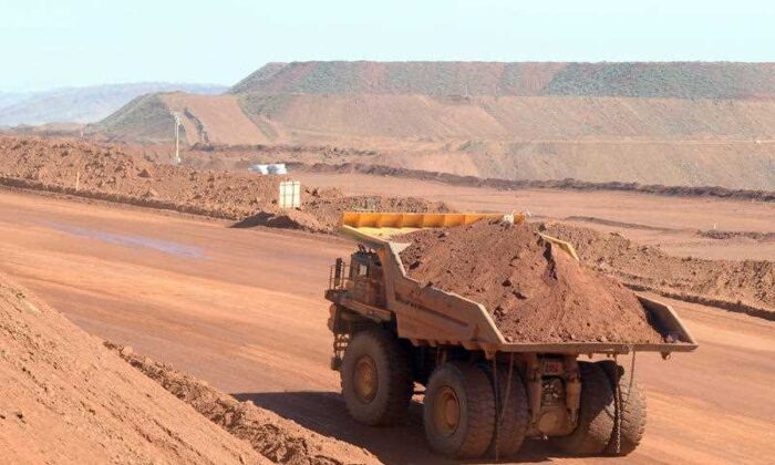 Haulage truck at the Rio Tinto West Angelas iron ore mine in the Pilbara region of West Australia July 9, 2014. (AAP Image/Alan Porritt)
