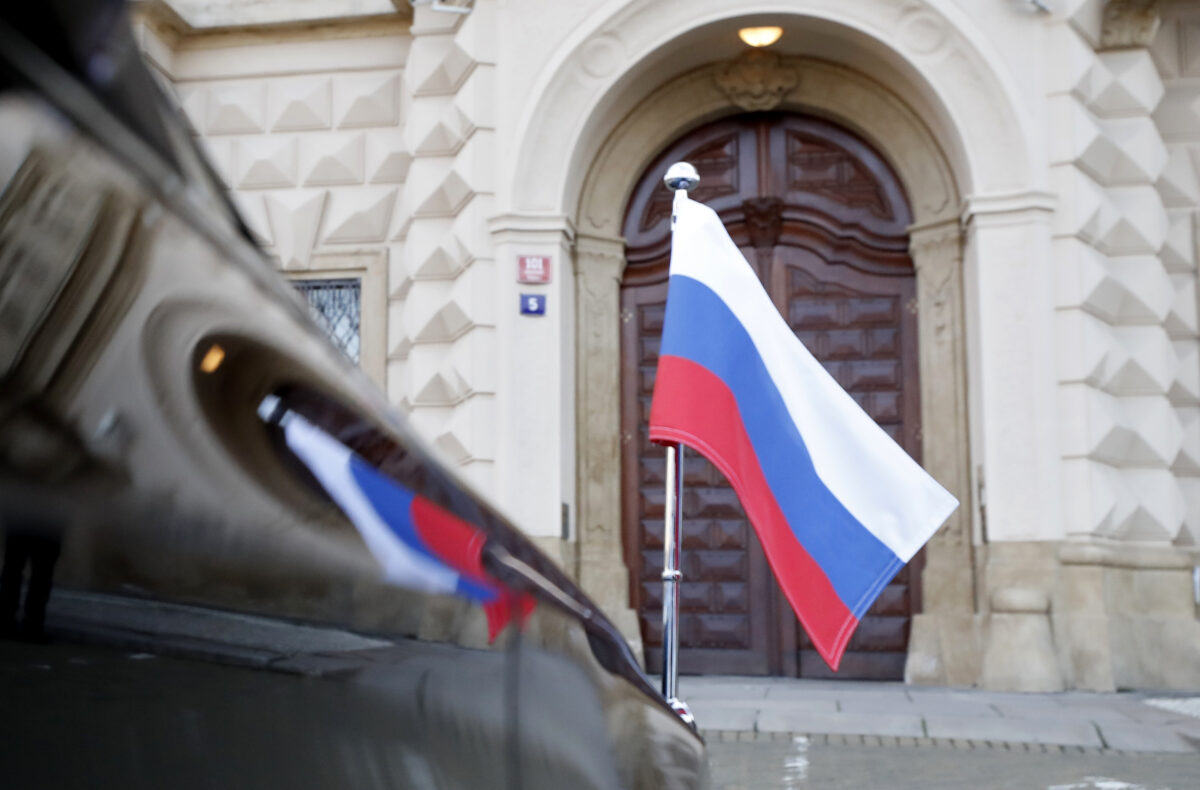 Car of Russia's ambassador to Prague, Aleksandr Zmeyevsky is parked in front of the Foreign Ministry in Prague