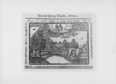 An engraving from an almanac for 1761 showing farmers in the field in the month of April, published circa 1760. (Fotosearch/Getty Images)