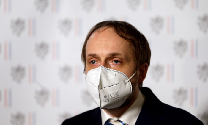 Newly appointed Czech Foreign Minister Jakub Kulhanek speaks during a news conference after meeting with Russian ambassador in Prague, Czech Republic, April 21, 2021.  (Reuters/David W Cerny)