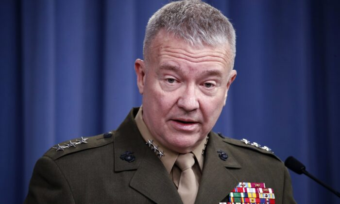 "Then-Marine Lt. Gen. Kenneth ""Frank"" McKenzie speaks during a media availability at the Pentagon in Washington on April 14, 2018. (Alex Brandon/AP Photo)"
