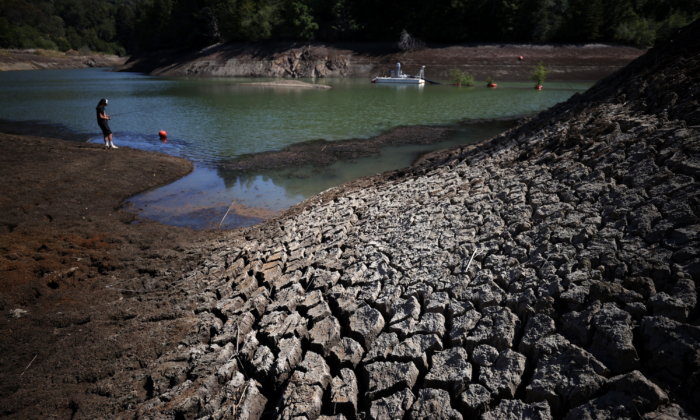 Dry cracked earth along the banks of Phoenix Lake in Ross, Calif., on April 21, 2021. (Justin Sullivan/Getty Images)