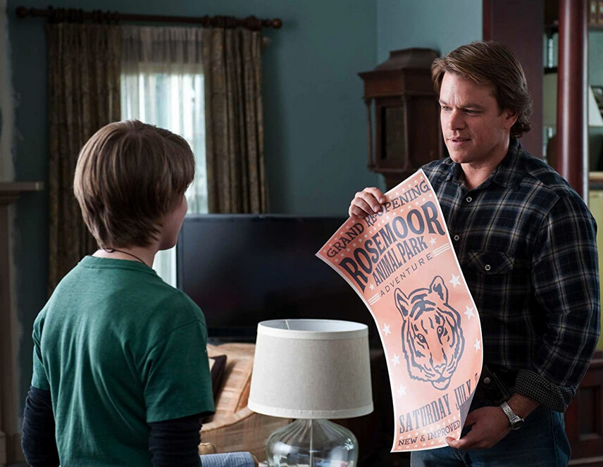 boy and man with poster in We Bought a Zoo