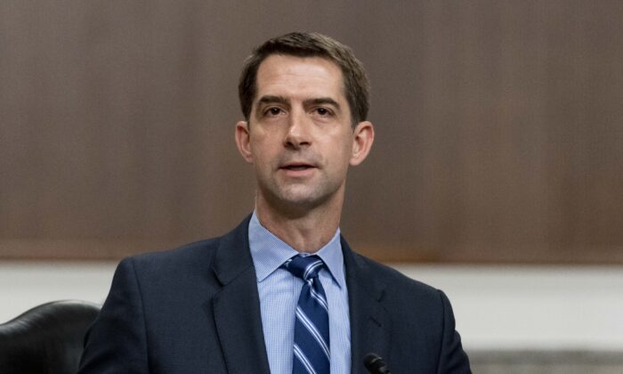 Sen. Tom Cotton (R-Ark.) speaks during a hearing to examine United States Special Operations Command and United States Cyber Command in review of the Defense Authorization Request for fiscal year 2022 and the Future Years Defense Program, on Capitol Hill in Washington on March 25, 2021. (Andrew Harnik-Pool/Getty Images)
