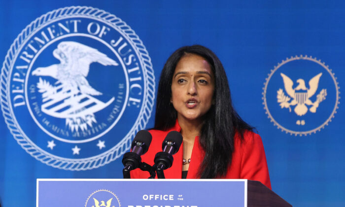 Vanita Gupta delivers remarks after being nominated to be U.S. associate attorney general, in Wilmington, Delaware, on Jan. 7, 2021. (Chip Somodevilla/Getty Images)