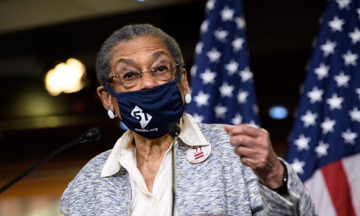 Del. Eleanor Holmes Norton (D-D.C.) speaks during a press conference on the House vote on D.C. statehood, in Washington on April 21, 2021. (Nicholas Kamm/AFP via Getty Images)