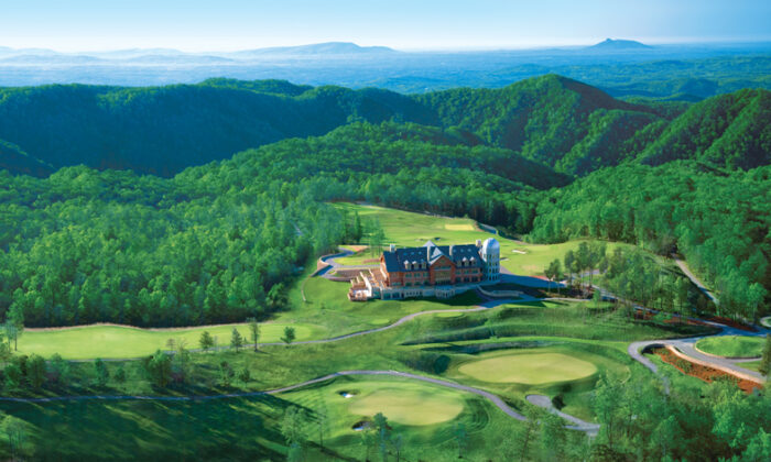 An aerial view of Primland, a resort in Meadows of Dan, Virginia. The lodge is on the left, the observatory to the right. (Courtesy of Primland)