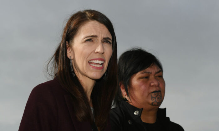 NZ Prime Minister Jacinda Ardern speaks to media with Minister Nanaia Mahuta in Hastings, New Zealand on July 08, 2020 (Kerry Marshall/Getty Images)