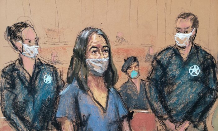 British socialite Ghislaine Maxwell appears during her arraignment hearing on a new indictment at Manhattan Federal Court in New York City, New York, U.S. April 23, 2021, in this courtroom sketch. (Reuters/Jane Rosenberg)
